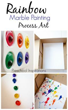 Rainbow Marble Painting. My kids will love this process art for preschoolers!
