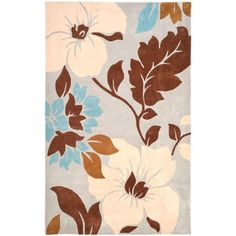 Safavieh Modern Art Collection MDA616A Handmade Contemporary Floral Ivory and Multi Polyester Area Rug (5' x 8') -- Check this awesome image  (This is an amazon affiliate link. I may earn commission from it)