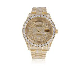 Rolex Day-Date II 18k Yellow Gold President 36ct Diamond Automatic... ($65,000) ❤ liked on Polyvore featuring men's fashion, men's jewelry, men's watches, mens watches, rolex mens watches, mens gold diamond watches, mens diamond watches and mens watches jewelry #DiamondWatchesmens