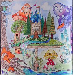 Johanna Basford coloring enchanted forest mushroom castle village