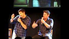 "Jensen and Misha at Jus In Bello 2013. Oh my word. This has to be the most hysterical panel I have ever watched. ""Welcome to Awkwardville... population 2."""