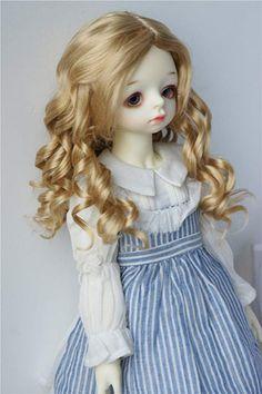"1//3 bjd 9-10/"" doll head carrot real mohair curly wig Pullip Soom D28002 Ship US"