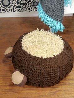 Crochet pouf ottoman nursery footstool bear with by ohbAby1112 #crochetpouf #floorpouf