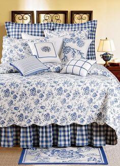 Devon Lake is a beautiful classic blue bed set from the design houses at Williamsburg. The floral on the quilt and shams is finely detailed. The bedskirts and euro shams are in a beautiful check. Blue Rooms, White Bedroom, Home Interior, Interior Design, Stylish Interior, Suites, White Decor, Beautiful Bedrooms, Bed Spreads