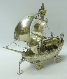 Antique German Silver Neff Sailing Ship by B NERESHEIMER & SOHNES ...