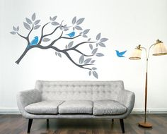 branch with birds wall decor - Interior Wall Painting Designs