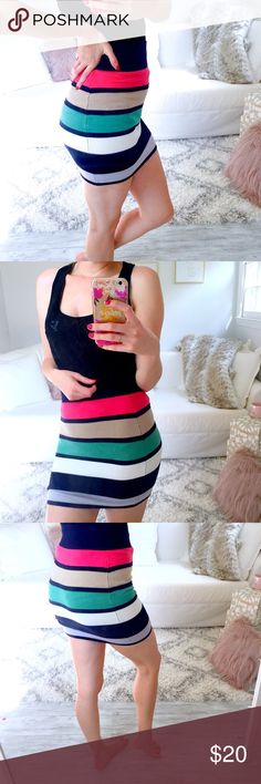 Stripe Colorblock Mini Skirt Colorblock stripe high waist skirt. Very form fitting, hugs the belly for a slimmer look. Very stretchy! Rayon and spandex material. Great condition. No rips or stains. True to size. Model is 5'5   ↓Follow me on Instagram ↓         @ love.jen.marie  YouTube: http://youtu.be/HyJJZVz3gUI   Please subscribe! Xoxo Forever 21 Skirts Mini