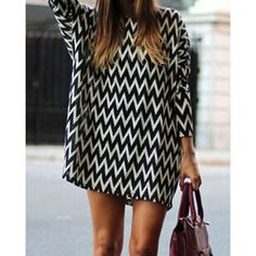 Casual Style Round Neck Long Sleeve Printed Loose-Fitting Women's Dress, WHITE AND BLACK, ONE SIZE(FIT SIZE XS TO M) in Long Sleeve Dresses | DressLily.com