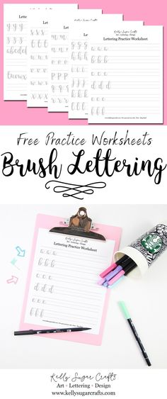 Free Brush Lettering Practice Worksheets brush calligraphy Uppercase Letters by Kelly Sugar Crafts Brush Lettering Worksheet, Hand Lettering Practice, Calligraphy Practice Sheets Free, Penmanship Practice, Hand Lettering For Beginners, Hand Lettering Tutorial, Calligraphy For Beginners Worksheets, Creative Lettering, Lettering Styles