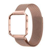 Fitbit Blaze Accessory Band,Small (5.5-6.7 in),Oitom® Frame Housing+Milanese loop Stailess Steel Band for Fitbit Blaze Smart Fitness Watch (Rose Gold Frame+Loop)