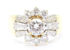 Purity: Gemstones: round brilliant cut centre Diamond, round brilliant cut Diamonds and tapered baguette cut Diamonds. Here at Gold Coast Jewellery Loans, we aren't just a simple pawnbroker. Diamond Cluster Ring, Gold Coast, Centre, Engagement Rings, Jewellery, Gemstones, Crystals, Ebay, Enagement Rings