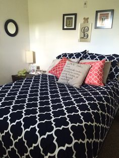 navy blue coral and tan apartment living bedroom bedding duvet cover