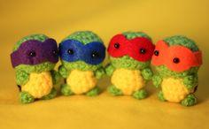 Tiny teenage mutant ninja turtles. Wish I could crochet....