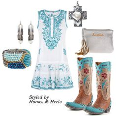 Turquoise + Silver by horsesandheels on Polyvore featuring Juliet Dunn, NAKAMOL, Old Gringo, Calypso Private Label and cowboyboots