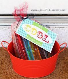 Summer gift basket Add spray bottle drinks water balloons etc
