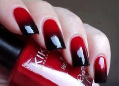 Red and black faded nails