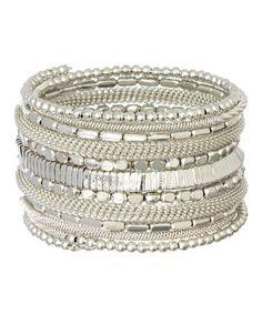 Silvertone Beaded Coil Bracelet