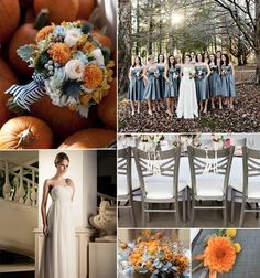 Dusty Blue with Burnt Orange - 12 Perfect Combinations for Color Schemes for Fall Weddings - EverAfterGuide