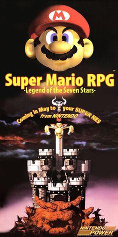 Super Mario RPG - Legend of the Seven Stars - Nintendo Power Poster - SNES FACT: This is now considered an alternate Mario universe. Geno Super Mario Rpg, Super Mario Brothers, Super Mario Bros, Retro Video Games, Video Game Art, Retro Games, Nintendo Super Nes, Pokemon, Anime Furry