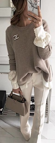 #spring #outfits woman wearing gray Chanel crew-neck sweater and white pants. Pic by @street_style_paris