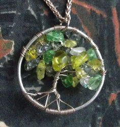 Wire wrapping and stones on a necklace. It's almost like a dream catcher.