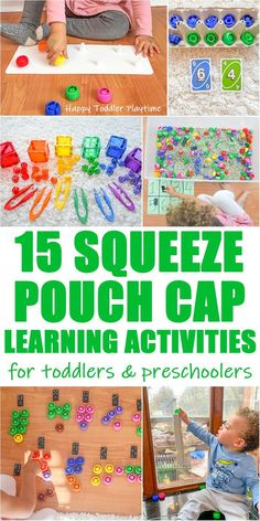 Squeeze Pouch Cap Activities – HAPPY TODDLER PLAYTIME Looking for fun ways to learn and play with squeeze pouch caps? Check out this amazing list of squeeze pouch cap activities for your toddler or preschooler! - Kids education and learning acts Motor Skills Activities, Toddler Learning Activities, Sensory Activities, Infant Activities, Kids Learning, Sensory Bins, Sensory Play, Outdoor Learning, Baby Sensory