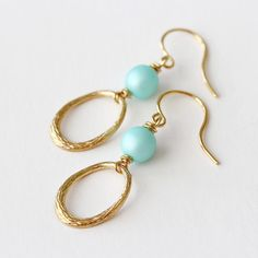 Tiffany Blue Glass and Gold Ring Dangle Earrings by YuniDesigns