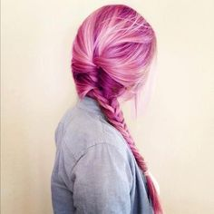 Fuschia hair with pale pink highlights in a braid