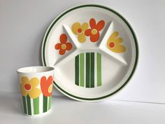 Figgjo 'AnneMarie' Couvert of tall mug & dinner plate, Kirsten Dekor / MINT, RARE / Highly collectible iconic Scandinavian design 70s Norway
