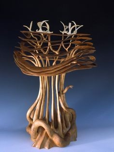"Alain Mailland ~ ""La Source"" ~ Wood Turning (Cerisier) 2002"