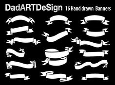 Simple Blank Ribbon Banners hand drawn 16 PNG HR by DADARTDESIGN.