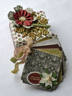 Mini chipboard album with matching origami box  by SoScrappyHappy
