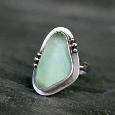 Hawaiian Aqua Sea Glass Mermaid Ring, Sterling Silver by Kira Ferrer,+$105.00