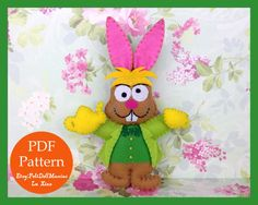 March Hare. Alice in Wonderland. Fairy Tale. Felt Doll.Felt pattern.Felt doll pattern. PDF Pattern and Tutorial.Sewing pattern. Dollmaking.How to make felt dolls.Easy felt dolls.Handmade doll.Felt Crafts