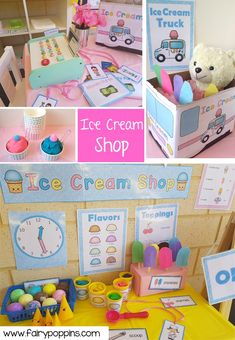 Ice Cream Shop dramatic play center and printables ~ Fairy Poppins Dramatic Play Themes, Dramatic Play Area, Dramatic Play Centers, Ice Cream Parlour Role Play, Play Ice Cream, Ice Play, Water Play, Play Based Learning, Learning Through Play