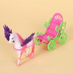 wooden horse and buggy for bendy dolls | Details about Wing horse Pegasus Carriage cart for Barbie Little ...