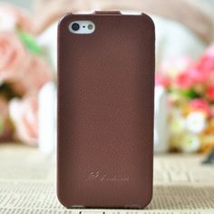 Genuine Flip leather case for iphone 5 Brown