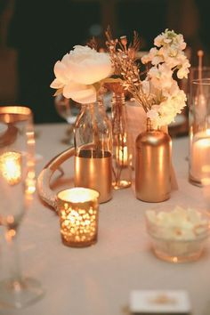 Top 2015 Wedding Trends from Chicago Wedding Planner Shannon Gail - Gold wedding centerpiece idea that we love! Rose Gold Centerpiece, Gold Wedding Centerpieces, Centerpiece Ideas, Gold Vases, Table Centerpieces, Gold Candles, Reception Decorations, Table Decorations, Gold Table Decor