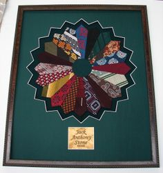 Rensel Studio - ties framed in a shadow box Mens Ties Crafts, Tie Crafts, Necktie Quilt, Shirt Quilt, Quilting Projects, Sewing Projects, Old Ties, Dad To Be Shirts, Quilt Making