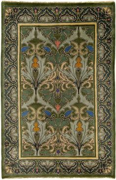 Tulip & Lily 1 rug ~ by C.F.A. Voysey, featuring our authentic Arts and Crafts Movement period color palette which coordinates beautifully with both antique and reproduction furniture, textiles, and wall coverings. All Guildcraft Carpets are hand-knotted