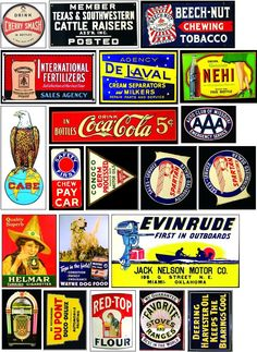 Old signs for your layout Vintage Luggage Tags, Vintage Tins, Vintage Labels, Advertising Signs, Vintage Advertisements, Model Training, Vintage Banner, Vintage Seed Packets, Diy Store