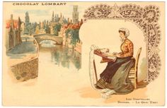 Vintage Postcard French Chocolat Lombart Lace Making Bruges