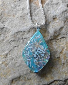 Glass Flower Pendant Blue Glass Necklace Blue Dichroic by GlassCat