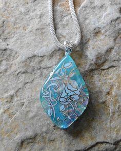Glass Flower Pendant Blue Glass Necklace Blue Dichroic by GlassCat