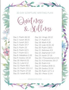 Cultivating a Quiet Heart Bible Reading Plan - Arabah Are you overwhelmed and stretched too thin? Join me this month with our Quietness and Stillness Bible Reading & Writing Plan. and find res Bible Study Plans, Bible Study Notebook, Bible Plan, Bible Study Tips, Bible Study Journal, Scripture Study, Bible Lessons, Scripture Images, Scripture Journal