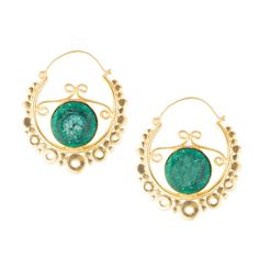 Green Stone Carved Gold Hoop Earrings  #jewelry #‪ #semiprecious #fashion #designerjewelry #accessories #ethnic #deara #handmade #dearafashionaccessories