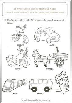 Resultado de imagem para atividades sobre os meios de transportes para educação…