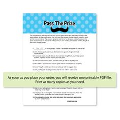 Pass The Prize Game - Little Man Mustache Theme
