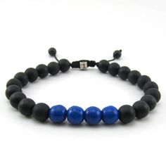 Mens semi-precious black matt hematite and blue howlite adjustable bracelet with sterling silver personalised bead
