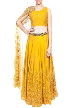 Mustard kalidar lehenga with embroidered quilted dupatta blouse #CarmaOnlineShop…